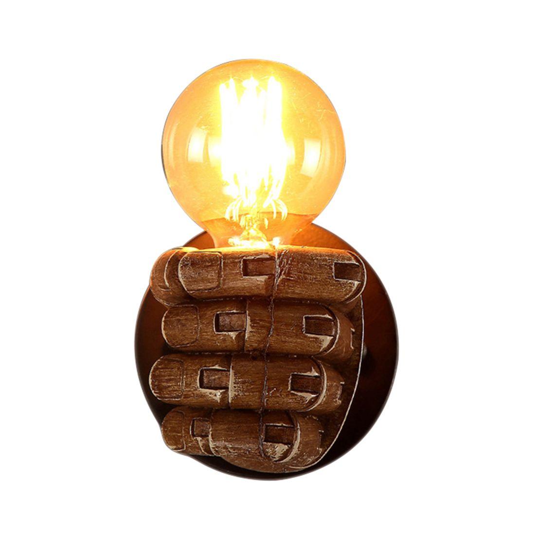 1 paire de Gauche et Droit Main Rétro Creative Fist Résine Mur Lampe Loft Industriel Lampe de Style Sushi Restaurant Bar restaurant