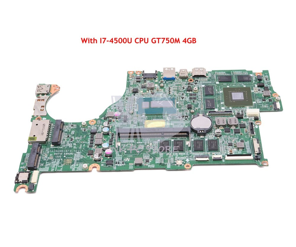 NOKOTION DAZRQMB18F0 NBMB611001 Pour Acer aspire V5-573 V5-573G Mère D'ordinateur Portable SR16Z I7-4500U CPU GT750M 4 gb