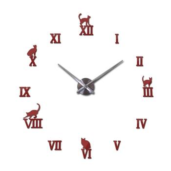 Hot design large decorative wall clocks brief design diy clocks digital watch quartz living room 3d cat wall stickers 9
