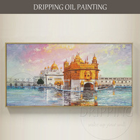 Artist Hand painted High Quality The Golden Temple Amritsar Oil Painting on Canvas Beautiful Golden Temple India Oil Painting