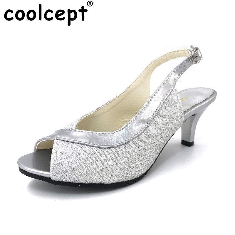 Coolcept Women Peep Open Toe High Heel Sandals Lady Thin Heels Party Wedding Shoes Woman Back Strap Footwear Size 30-46 PA00328 цены онлайн