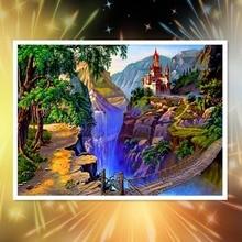 New 5D Diamond Painting Landscape Villa Full Round Embroidery Rhinestone Mosaic Needlework Handmade Kit