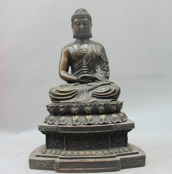 Tibet Buddhism Fane Bronze Copper Rulai Tathagata Amitabha Buddha Pagoda StatueTibet Buddhism Fane Bronze Copper Rulai Tathagata Amitabha Buddha Pagoda Statue