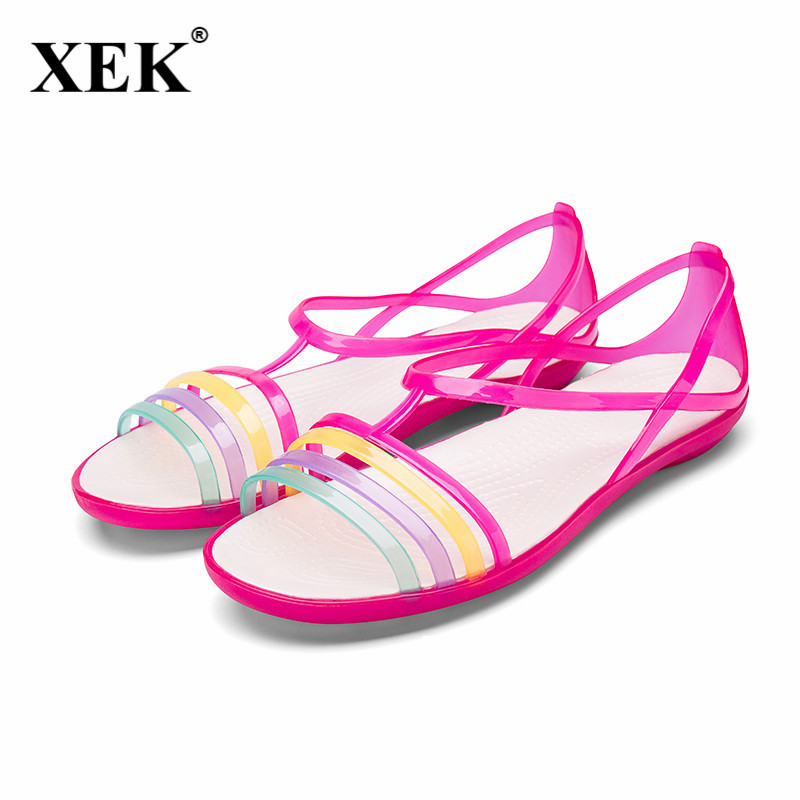 Women Sandals Summer New Candy Color Women Shoes Peep Toe Stappy Beach Valentine Rainbow Croc Jelly Shoes Woman Flats JDD51 цена и фото
