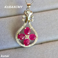 KJJEAXCMY boutique jewelry Colorful jewelry 925 Silver Natural Ruby female pendant, simple and generous wholesale