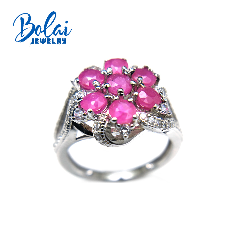 Bolaijewelry,natural africa ruby precious gemstone round 3.5mm engagement flower Ring 925 sterling silver fine jewelry for womenBolaijewelry,natural africa ruby precious gemstone round 3.5mm engagement flower Ring 925 sterling silver fine jewelry for women