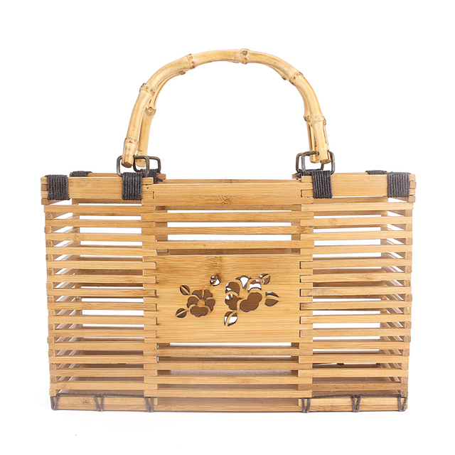 Fashion 2017 Beach Bags Women Straw Bag Summer Hollow Out Tote Luxury Designer Bamboo Handbags