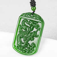 Drop Shipping Men's Necklace Pendant White Green Jade Carved Chinese Dragon Pendant Gift for Men Women Lover's Fine Jewelry
