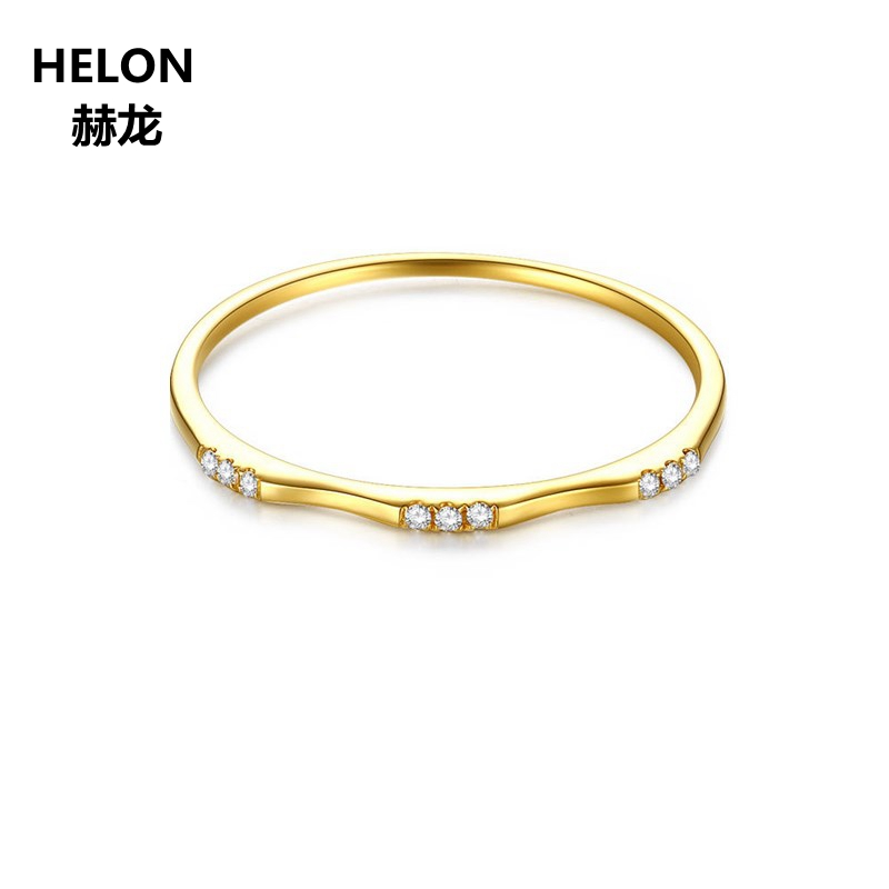 1000% SI/H Natural Diamonds Wedding Band Solid 14k Yellow Gold Women Engagement Ring Fine Jewelry solid 14k white gold engagement ring for women 100% si h natural diamonds wedding band millgrain v shape trendy jewelry