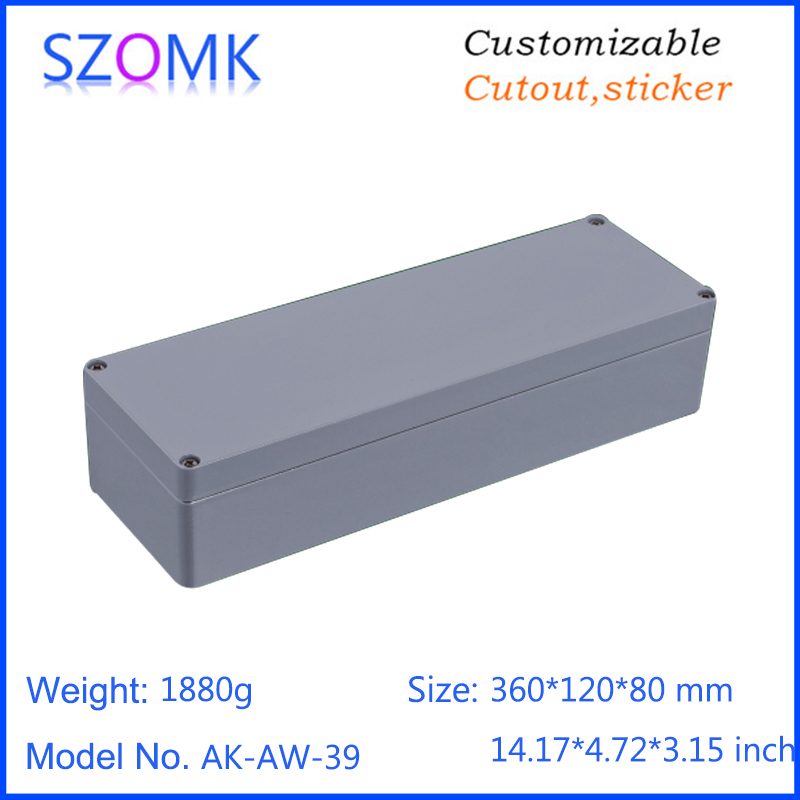 1 piece, 360*120*80mm szomk die cast aluminum enclosure electronics junction box IP66 waterproof amplifier device housing case 1 piece free shipping powder coating aluminium junction housing box for waterproof router case 81 h x126 w x196 l mm