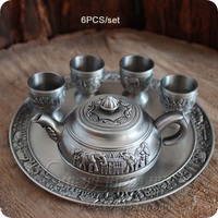 rare 6PCS/set antique tin alloy metal embossed carved tea set drinkware tableware tea jar cup tray home bar decoration 327A