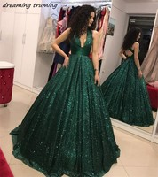 2019 Emerald Green Arabic Evening Dress Prom Gowns Backless Sequined Kaftan Dubai Special Occasion Formal Women Party Dress