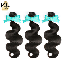 Hair Body-Wave 100%Human-Hair-Extensions KL Weave 3-Bundles Deal Brazilian Natural Black-Color