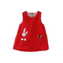 Neugeborenen Herbst Kaninchen und Karotten Appliques Baby Mädchen Infant Kleid & kleidung Kinder Party Geburtstag Taufe Kleid 0 2T