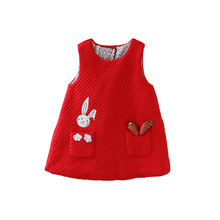 Newborn Autumn Rabbit and Carrot Appliques Baby Girls Infant Dress&clothes Kids Party Birthday Christening Dress 0 2T