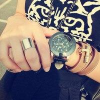 GUOU Luxury Rhinestone Glittering Leather Watch Women Watches Fashion Shiny Ladies Watch Lady Hour Quartz Clock