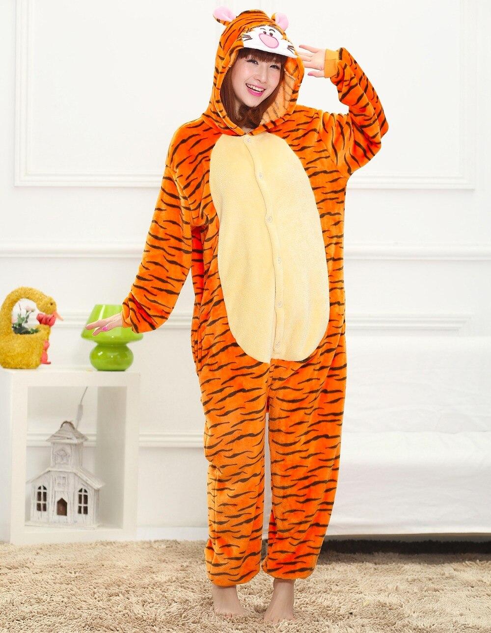 Cute Tiger Animal Pajamas Cartoon Pijama Winter Warm Cosplay Pijamas Adults Flannel Onesies Women Set Boys