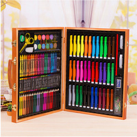 150pcs/set Colouring Children Learning Wooden Box Water Color Pen Painting Gift Pencils Stationery Supplies Art
