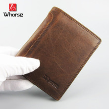 [WHORSE] Brand Logo New Genuine Leather Men Wallets Vintage With Coin Bag Hasp Famous Brand Mens Wallet Male Money Purses Women
