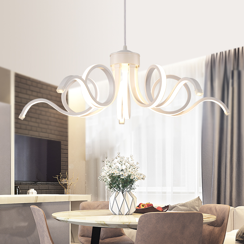 Modern led chandeliers for parlor lampada led hotel room Contemporary minimalist design led strip indoor lighting acrylic shade