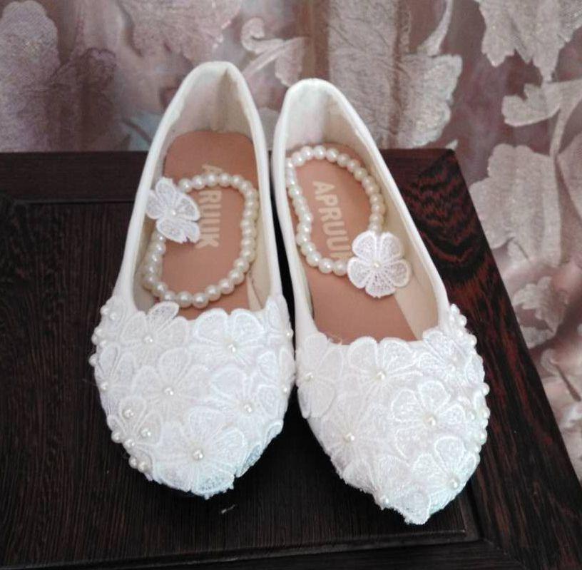 Fait à la main blanc dentelle ivoire perles de mariage chaussures femme perlage cheville mariée demoiselle d'honneur fête banquet fête chaussures bas talon haut