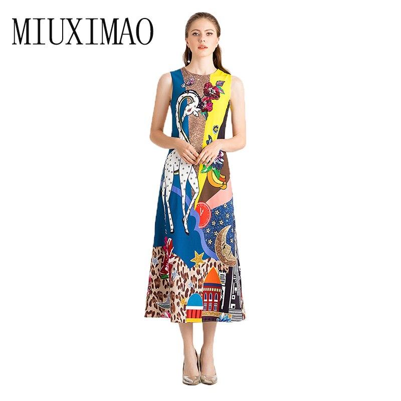 Piste 2019 Printemps et Summer party robe Nouvelle Mode O-cou Imprimer Girafe Diamants Casual Élégant Longue Robe Femmes