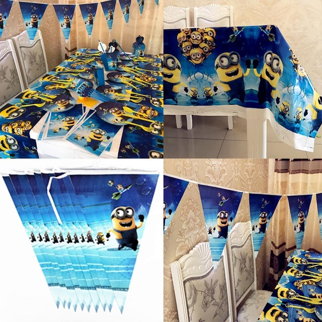 minions plastic table covers paper banner pennant flags tableware