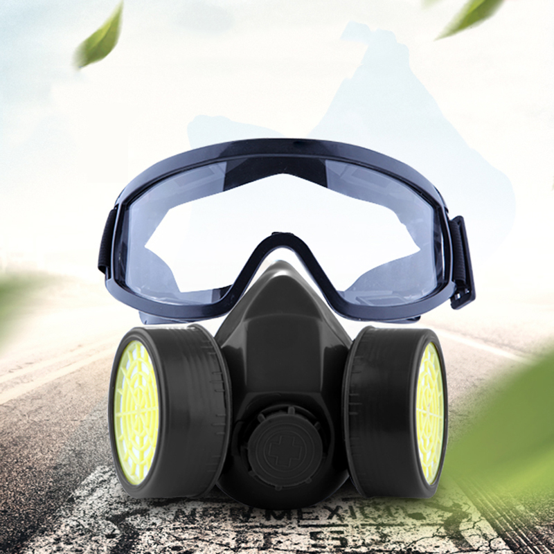 d64a086ab76 New Gas Mask Half Face With Anti-fog Goggles Activated Carbon Dustproof  Chemical Filter Respirator Formaldehyde Paint Spray