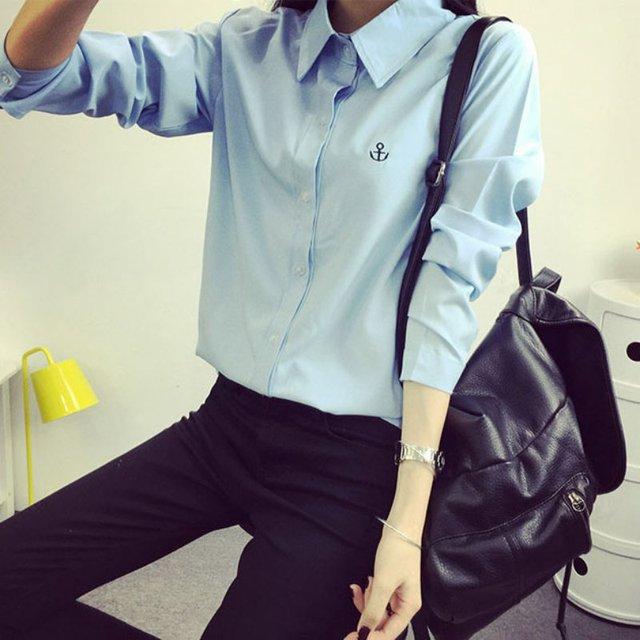 Женские топы белого цвета синий фиолетовый 2018 Для женщин Повседневное Повседневная обувь офисная блузка рубашка с длинными рукавами Офисные женские туфли футболки
