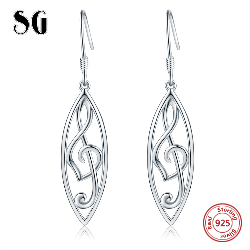 Simple Music symbol drop earrings authentic 925 sterling silver earrings for women fashion sterling silver earring jewelry in Drop Earrings from Jewelry Accessories