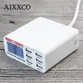 AIXXCO 6A con Cargador Rápido Inteligente LCD de Pantalla Digital de 6 Puertos USB Estación de Carga para el Teléfono Inteligente Tablet PC