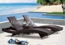 Outdoor rattan lounge chairs 2+1 with corner table set furniture