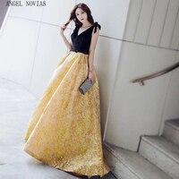 Angel Novias Long Ball Gown Red Carpet Celebrity Dress 2018 Floor Length Gold Backless Arabic Evening