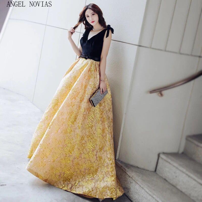 Angel Novias Long Ball Gown Red Carpet Celebrity Dress 2018 Floor Length Gold Backless Arabic Evening Dress