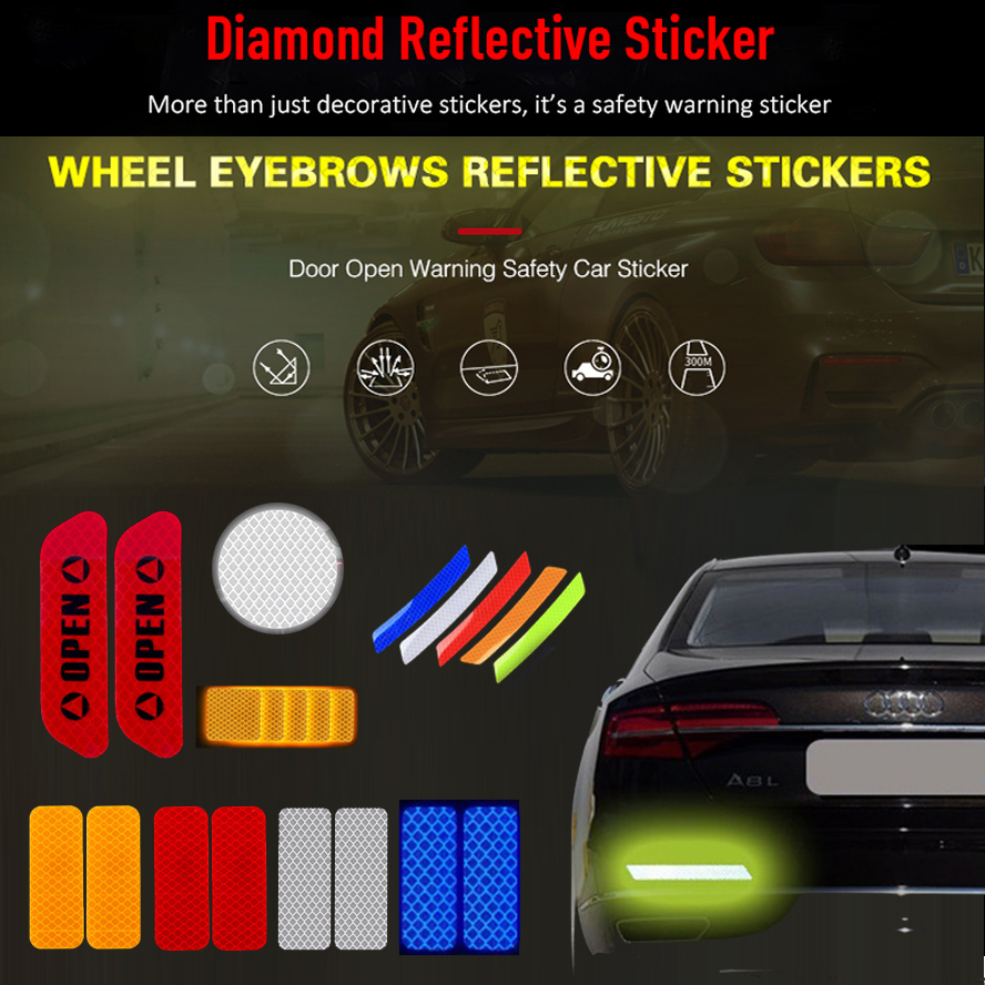 Car Body Safety Reflective Warning Stickers for Car Door Wheel Eyebrow Rear Bumper Review Mirror Helmet Decal Pegatinas Aksesuar-in Car Stickers from Automobiles & Motorcycles