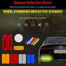 Car Body Safety Reflective Warning Stickers for Door Wheel Eyebrow Rear Bumper Review Mirror Helmet Decal Pegatinas Aksesuar