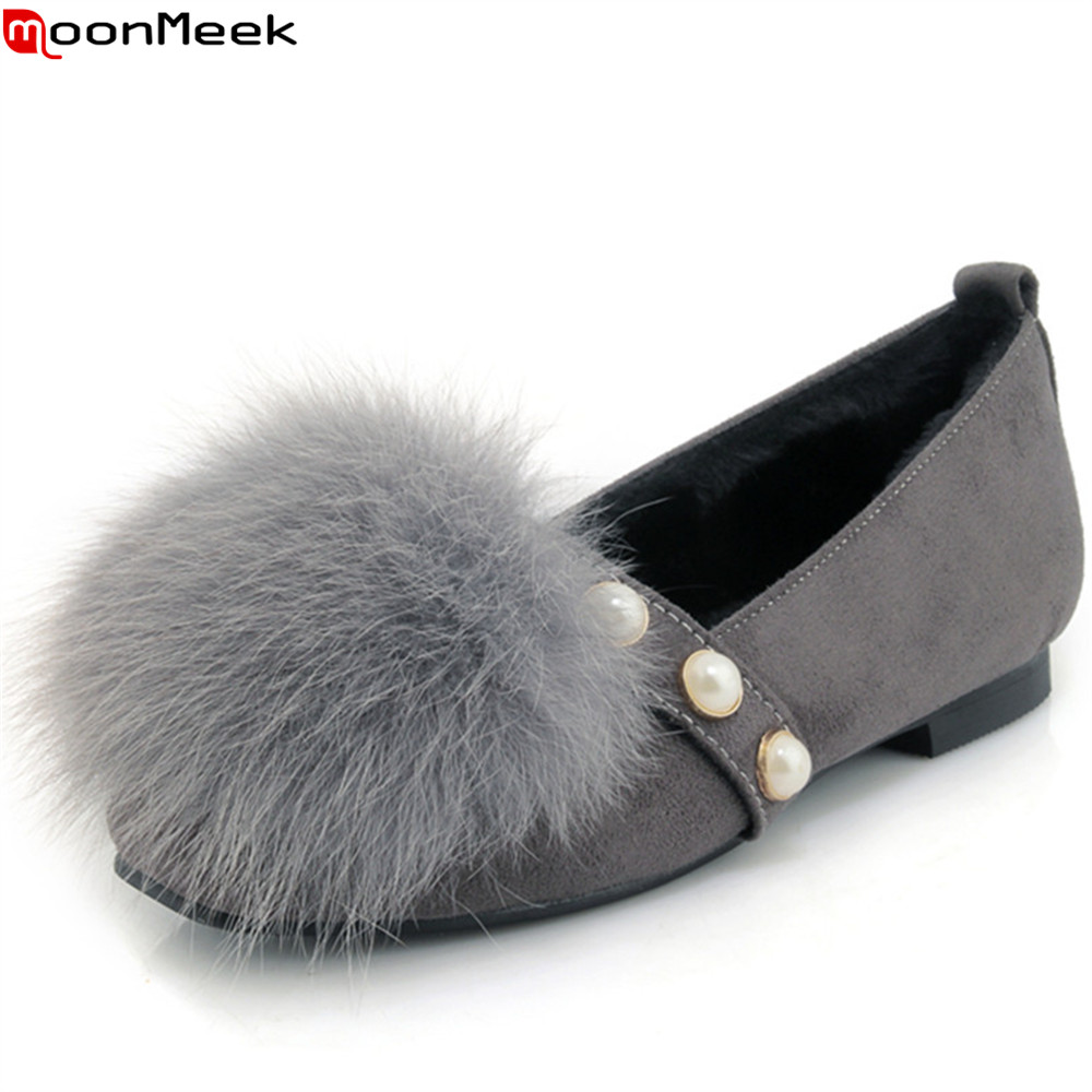 MoonMeek black gray fashion women shoes round toe shallow leisure comfortable flats shoes fur ladies prom shoes big size 33-45 lin king fashion pearl pointed toe women flats shoes new arrive flock casual ladies shoes comfortable shallow mouth single shoes