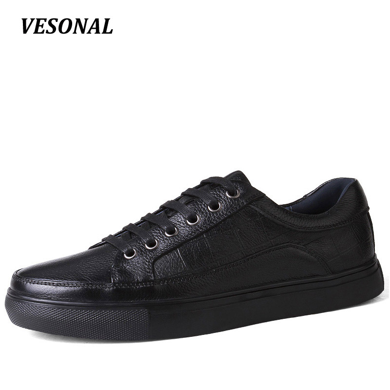 VESONAL Brand Genuine Leather men casual shoes Luxury Flat Fashion Designer Breathable Mens Shoes Casual Male Footwear SDQ008