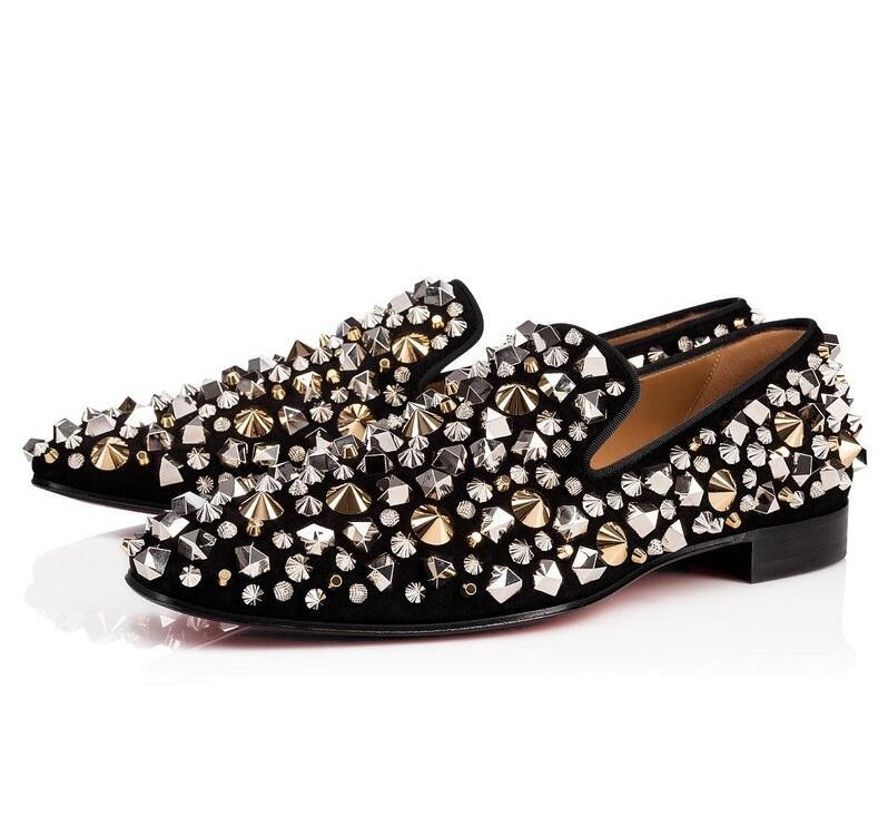 Shiny Gold Spiked Rivets Loafers Men Casual Shoes Crystal Embellished Sequins Wedding Dress Shoes Men Flats Slip On Moccasins foot sequins slip on plimsolls