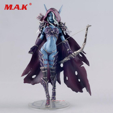 Toys Gift for Boys 17CM WOW Sylvanas Windrunner Archery Queen PVC Anime Action Figure Model With Base for Children Birthday wow action figure dc unlimited series 4 9 inch deluxe medusa lady vashj wow pvc model toy free shipping