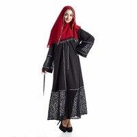 Siyah Elbise Dantel Hollow Out Kaftan Çarşafımın Kadınlar Müslüman Elbise Maxi Türk Arap Orta Doğu Jilbab Robe İslam Bayanlar Giyim