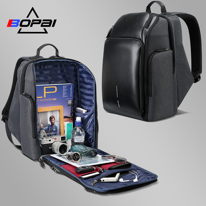 BOPAI многослойный рюкзак для путешествий для мужчин большой емкости Plecak usb зарядка ноутбук рюкзак 15,6 дюймов мужской функциональный рюкзак