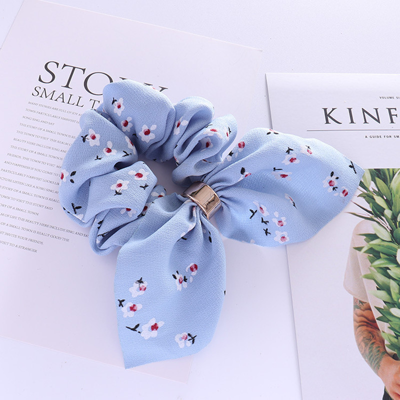 6 Colors Fashion Women Flower Print Big Bowknot Hair Ties Personality Elegant Fabric Hairbands Floral Rubber Bands   Headwear