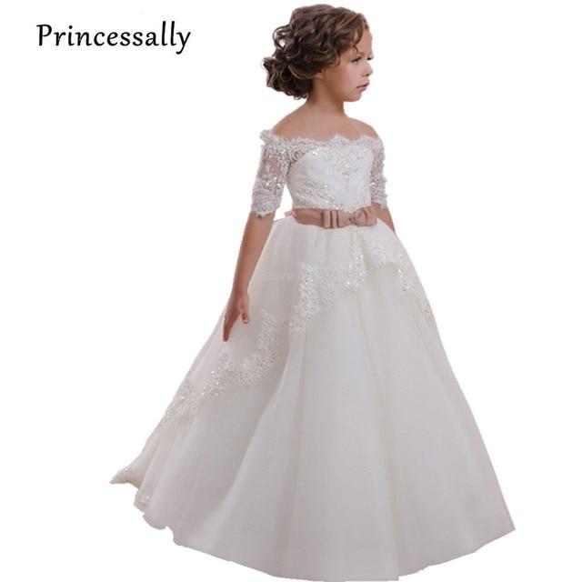 2137e3a5a19aa Haute qualité fleur fille robes dentelle demi manches bateau cou première  Communion robes pour filles enfants