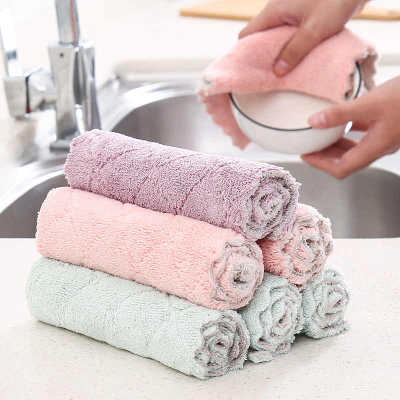 YINUO Household Kitchen Towels Absorbent Thicker Double-layer Microfiber Wipe Table Kitchen Towel Cleaning Dish Washing Cloth