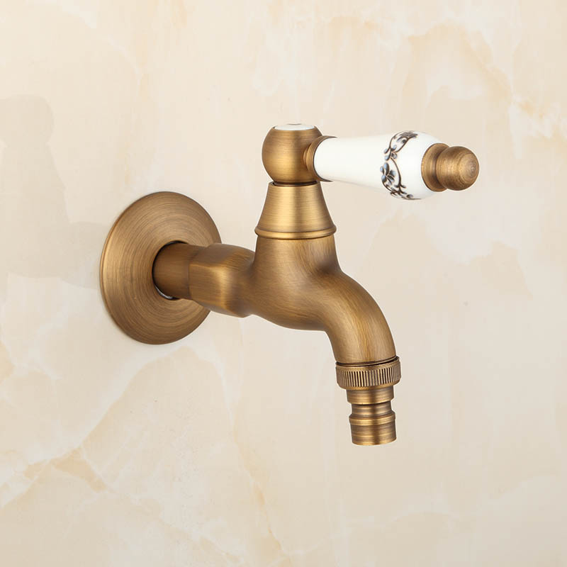 Extra Long Antique Artistic Ceramic Handle Wall Mount Laundry Mop Sink Washing Machine Faucet Garden Water