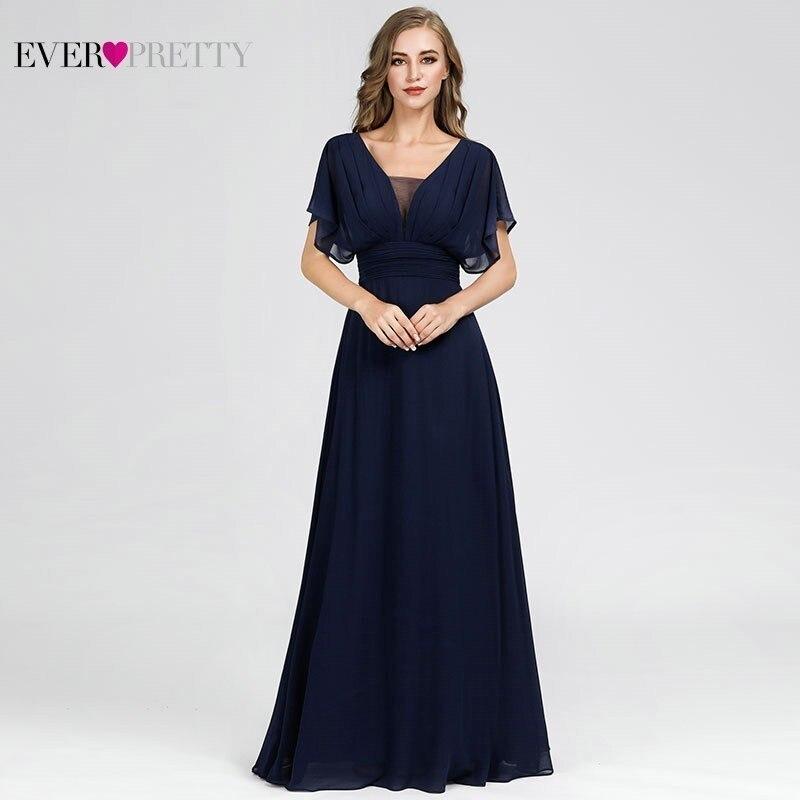 Elegant Long Prom Dresses Ever Pretty A-Line V-Neck Short Sleeve Formal Women Evening Party Dresses Mezuniyet Elbiseleri 2020