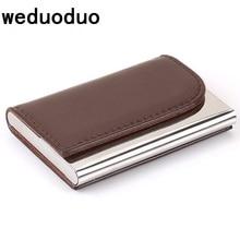 Weduoduo Women And Men Business ID Credit Card Holder Fashion Brand Metal Aluminum PU Leather Porte Carte