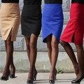 2015 nova primavera outono saia OL passo saia Hip pacote de lã feminino fino joelho saia grande tamanho para mulheres