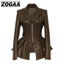 2019 Women Jacket Black Gothic Faux Leather PU Winter Spring Motorcycle Goth Coats S-3XL